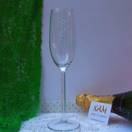 Copa de champagne con inicial