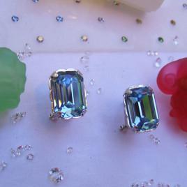pendientes plata omega cristal