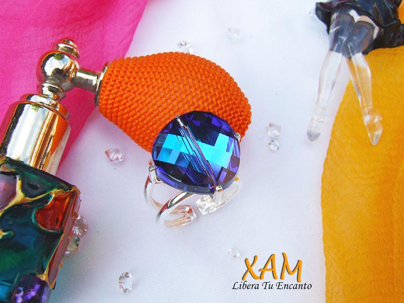 Anillo con facetas de plata y rodio creado con crystales for Anillos de rodio precio